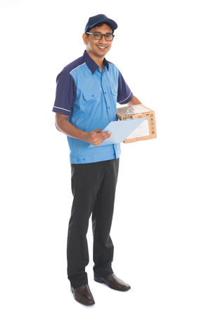 delivery box: indian delivery man in blue uniform