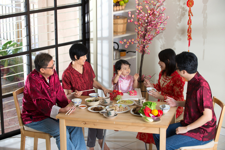 Chinese new year reunion dinner, part of Chinese culture to gather during eve Stock fotó