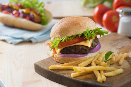 fast: fast food hamburger, hot dog menu with burger, french fries, tomato drinks and many more