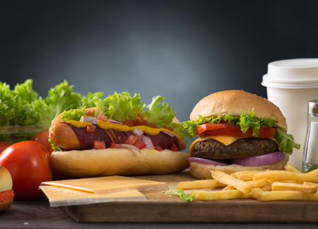 drink food: fast food hamburger, hot dog menu with burger, french fries, tomato drinks and many more
