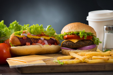 fast food hamburger, hot dog menu with burger, french fries, tomato drinks and many more