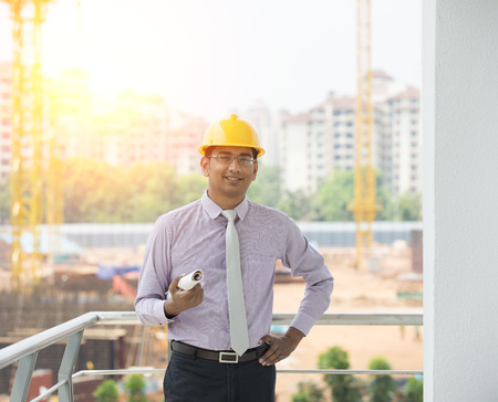 engineer: indian engineer on construction background