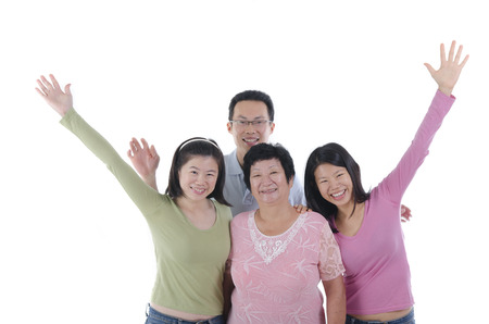 asian adult: healthy asian family