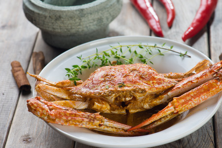 stirred: Stirred Fried Crab with Garlic, Pepper, Curry Powder. Stock Photo