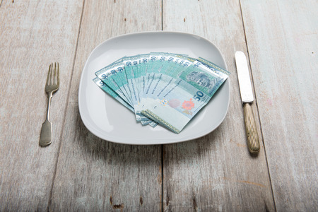 avid: Malaysia Ringgit concept photo on plate
