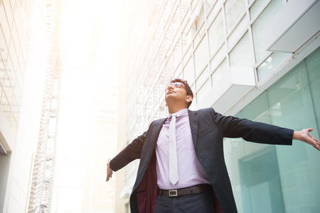 successful man: indian male business man celebrating success Stock Photo