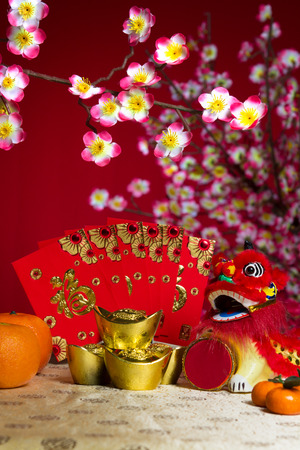 chinese new year element: Chinese new year decorations, miniature dancing lion Stock Photo