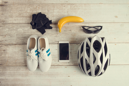 towel: cyclist pack concept photo in vintage retro tone