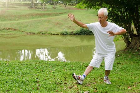 motion: asiatisk manpensionär utför tai chi