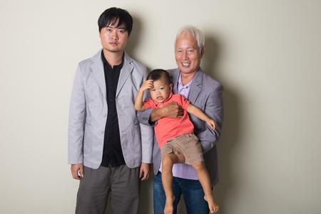 three generation: three generation asian family Stock Photo