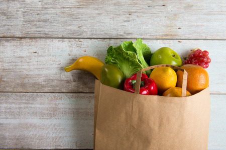 paper bag: grocery shopping concept photo Stock Photo