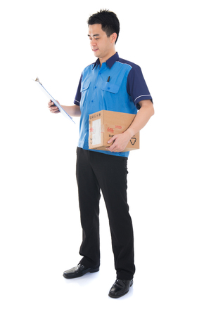 worker man: asian delivery male Stock Photo