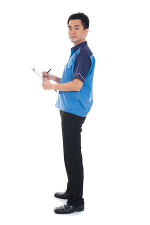 service man: asian delivery male Stock Photo