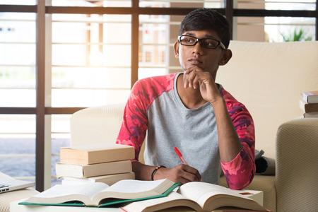 homework student: indian college student doing homework