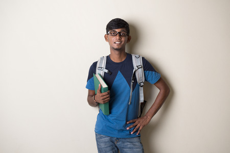 school boy: teenage indian male college student