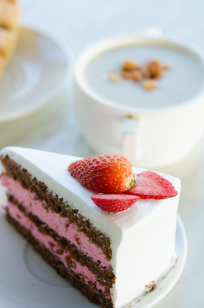 coffee and cake: strawberry cake