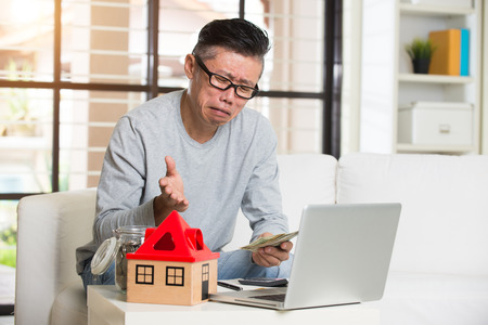 matured man with loan rejection Stock Photo