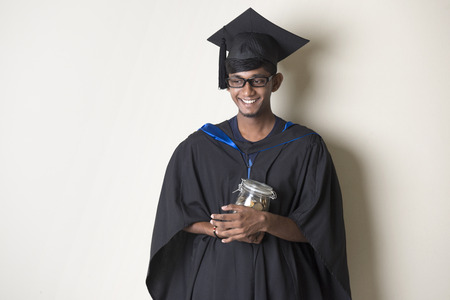 black male: indian teenage male education fund concept photo