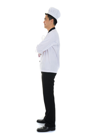 worker man: asian male chef full body
