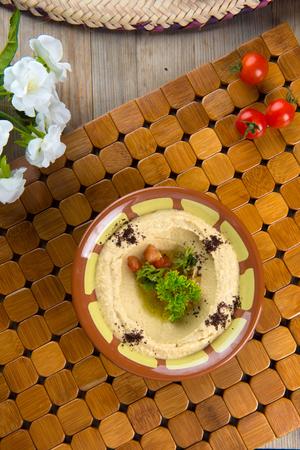 comida arabe: comida �rabe, hummus arriba hacia abajo vista