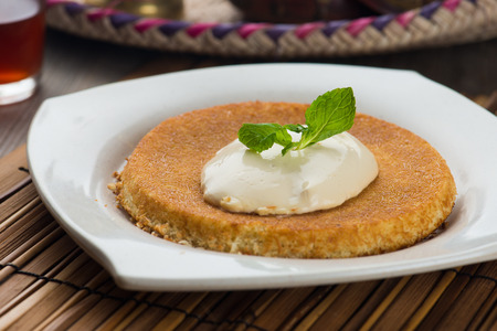 kunafa, traditional arab dessert similar with cheese cake Stock Photo