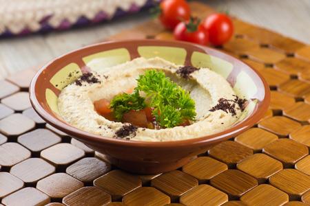 comida arabe: comida �rabe, hummus Foto de archivo