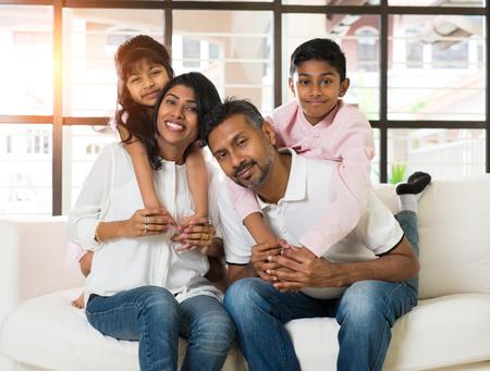 two children: indian famliy home