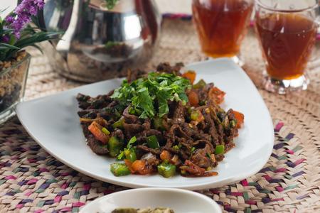 protien: beef liver kebda, mugagal arabic food Stock Photo