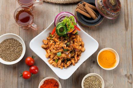 protien: mugagal chicken, arabic food