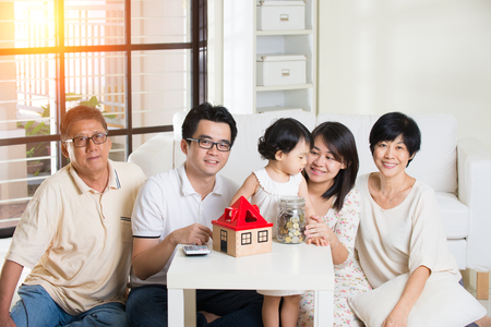 multi family house: asian family finance concept photo