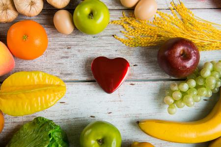 healthcare concept balance between medicine and healthy foods