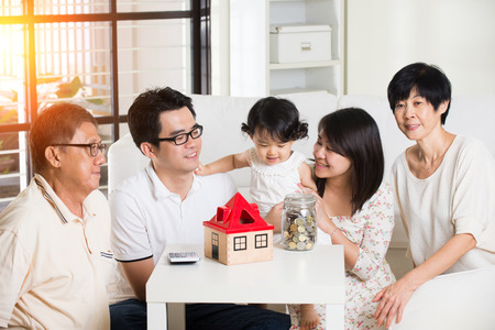 savings problems: asian family finance concept photo