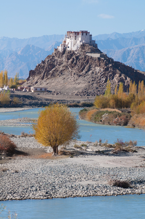 monasteri: Il monastero buddista di staknâ sopra fiume Indo in Himalaya indiano nel tardo autunno. Staknâ, Ladakh, India