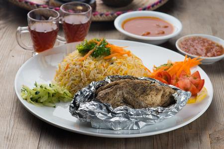 Chicken madhbi or madbi traditional arabic food Stock Photo