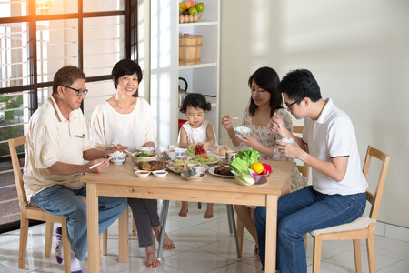 chinese family having lunch Stock Photo