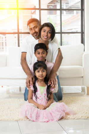 south asian ethnicity: indian family portrait indoor