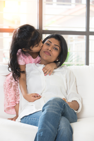 indian mother and daughter bonding photo