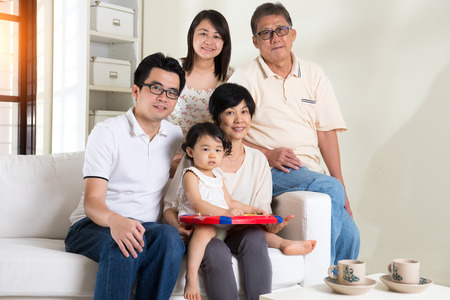 multi generation asian family at home Stock Photo