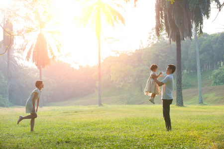 happy families: asian family outdoor