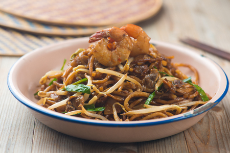 Fried Penang Char Kuey Teow, popular fried noodle in malaysia Stock Photo