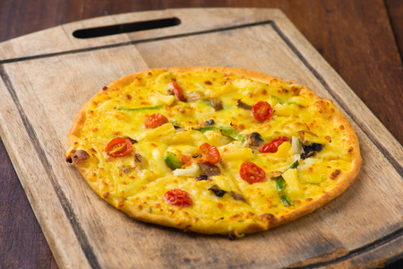 pizza with rustic background