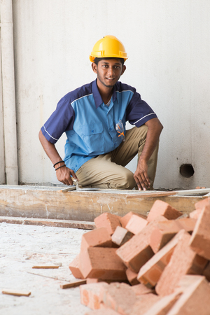 layers levels: indian contruction working doing mansonary Stock Photo