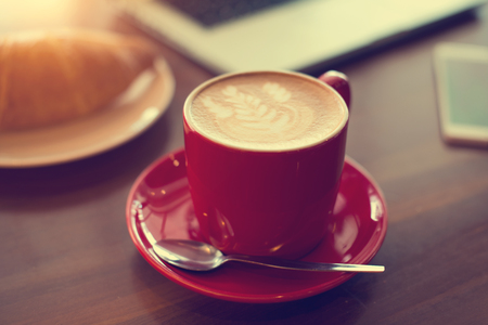 latte with laptop Stock Photo