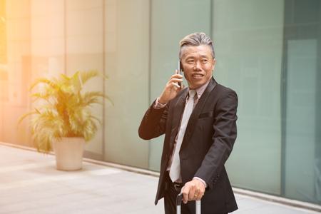 asian senior travelling Stock Photo