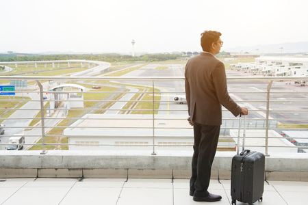 indian business male travelling at airport Stock Photo