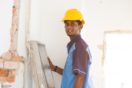 indian male construction worker Stock Photo