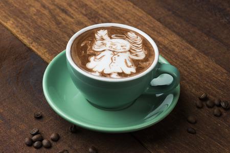 angel coffee art latte