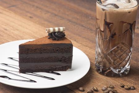 chocolate cake and iced coffee