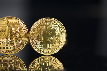 bitcoin with black background Stock Photo