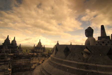 borobudur,very famous landmark in java, indonesia during sunset